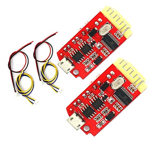 SUBALIGU 2Pcs Bluetooth Power Amplifier Board CT14 Micro 4.2 Stereo Bluetooth Receiver Board Module 5VF 5W+5W with Charging Port for DIY Sound Box Speaker Refitting
