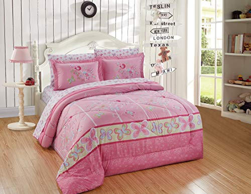 Better Home Style Multicolor Pink Blue Green Butterflies Birds Trees Printed Fun Design 7 Piece Comforter Bedding Set for Girls/Kids/Teens Bed in a Bag with Sheet Set # Tree Butterfly (Queen)