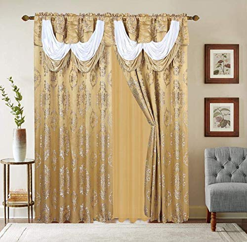 """LinenTopia Classical Jacquard Window Drape Set, 2 Panels with Attached Valance + Sheer Backing, Fancy Victorian Style Damask Curtain Drape for Living Rooms, (Leyla, 84"""",Gold)"""