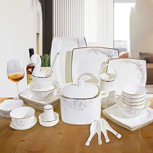 MMFXUE Set da Pranzo da 50 Pezzi Set da Colazione in Porcellana Bianco Avorio Bow Set di Piatti/Piatti da Cucina in Ceramica/Set di Piatti da Pranzo/Set da tavola/in Porcellana