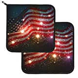 Pot Holders Set of 2, Fireworks Shine Glitter Sparkling American Flag Heat Resistant Kitchen Non Slip Printed Cooking Barbecue Baking Microwave