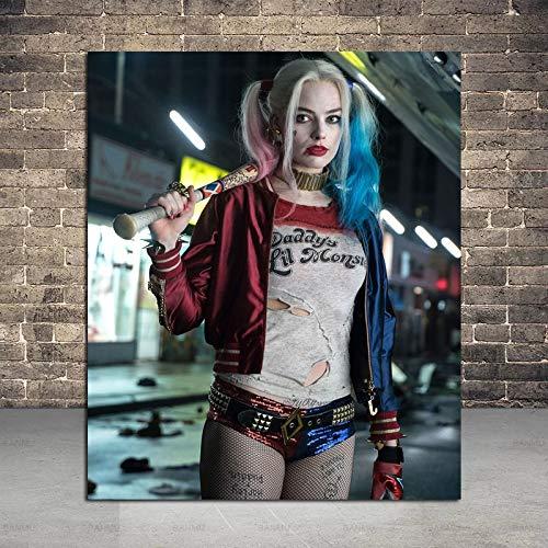 Puzzle 1000 Piezas Arte de Personajes Harley Quinn Obra de Arte Pintura Imagen de Arte Moderno Puzzle 1000 Piezas Rompecabezas de Juguete de descompresión Intelectual educativ50x75cm(20x30inch)