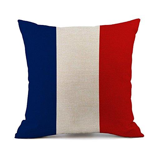 Bandera de almohada algodón Lino decorativa Funda de cojín sofá Auto Home Decor 45x 45cm France