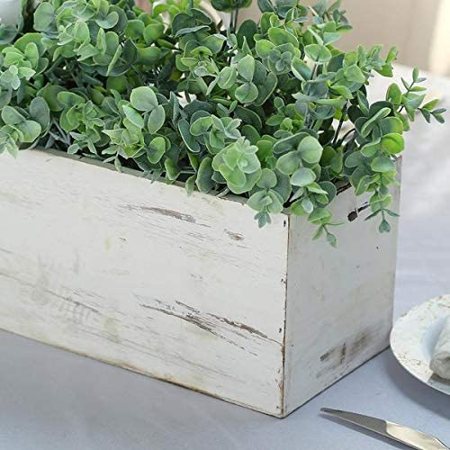 Tableclothsfactory Rapid rise 30x6'' Whitewash Wood with Plas Genuine Free Shipping Boxes Planter