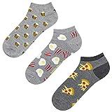 soxo Herren Bunte Sneaker Socken   Größe 40-45   3er Pack   Baumwolle Herrensocken mit Lustigen Motiven   Perfekt für Flache Schuhe   Tolle Ergänzung für Ihre Garderobe   Bier/Pizza/Rührei & Speck