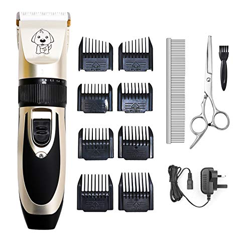 Pet Dog Grooming Clippers, Rechargeable Low Noise Cordless Pet Clippers,Professional Dog Hair Trimmer Grooming Kit Dog Shaver with 8 Comb, Quiet Electric Cat Shears for All Pets