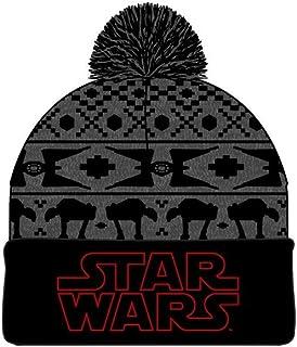قبعة صغيرة من Star Wars عليها شعار Fair Isle المطرز Jaquard Knit باللون الأسود