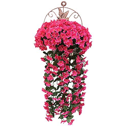 RUIYELE Ramo de clorofito artificial, planta colgante artificial, guirnaldas falsas para colgar de hiedra para boda, hogar, jardín, decoración de pared, con cestas colgantes (rosa rojo)