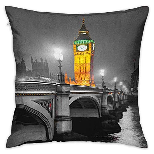 N\A London Square Standard Pillowcase The Big Ben and The Westminster Bridge at Night in UK Street River European Look Grey Yellow Cushion Cases Pillowcases for Sofa Bedroom Car