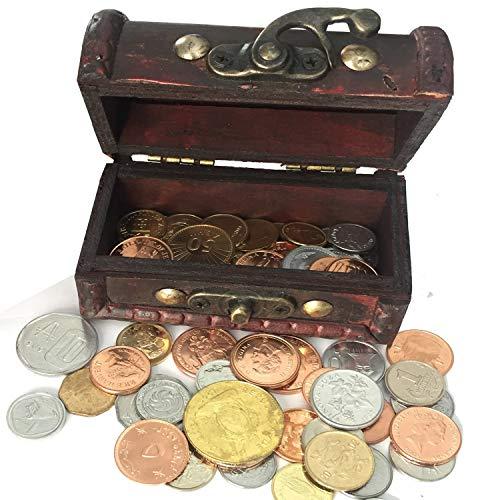 IMPACTO COLECCIONABLES Monedas De COLECCIÓN - 50 Monedas Sin Circular De 50 Países + Cofre De Regalo