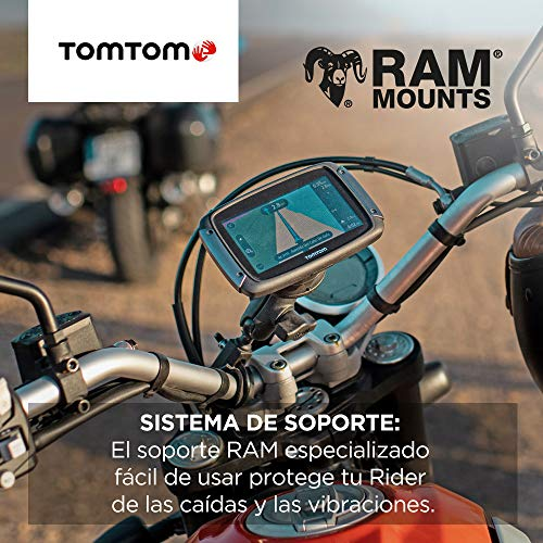 TomTom Rider 500 - GPS para motocicletas, 4.3 pulgadas con carreteras montañosas, actualizaciones mediante Wi-Fi, compatible Siri y Google Now, Traffic y Radares de tráfico, 49 mapas