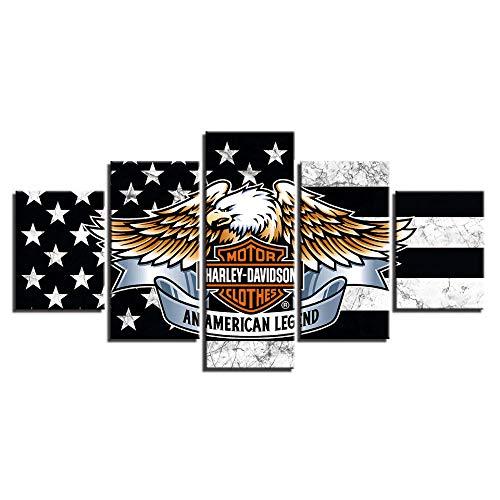 VGFGI 5 Stücke der amerikanischen Flagge Adler Bild HD Leinwand Kunst Malerei Wohnzimmer Wanddekoration