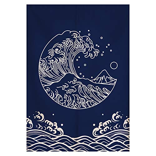 RLoncomix Japanese Noren Doorway Curtain Tapestry Hokusai Ukiyoe Great Wave Door Curtain Kitchen Bistro Home Decoration, 33 x 59 inches