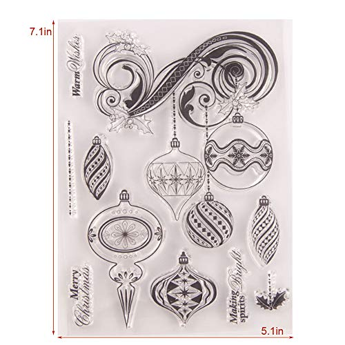 5 by 7 Inch Wind Chimes Warm Wishes Silicone Stamps for Card Making and Scrapbooking Christmas Clear Rubber Stamps (T1621)