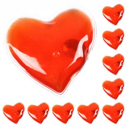 eBuyGB Pack of 10 Calentadores de Manos de Gel Reutilizables, Unisex Adulto, Corazón Rojo, Pack de 10