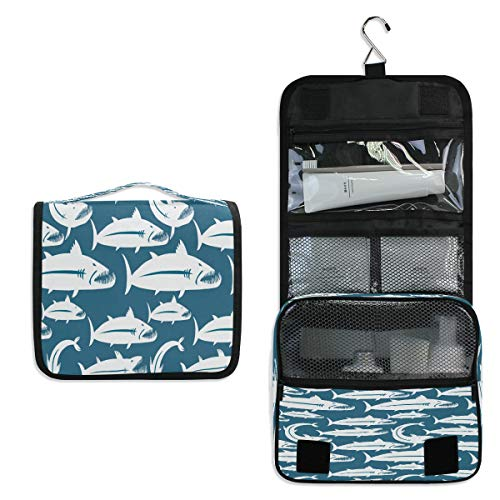 Hanging Toiletry Bag, Personalized Barracuda Fish Waterproof Quilted Wash Gargle Bag Portable Travel Bathroom Shower Bags Deluxe Large Makeup Brush Case Capacity Pouch for Men and Woman
