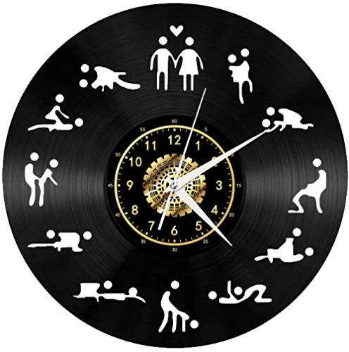 Reloj de Pared de Vinilo Postura Sexual Estilo Retro Obra de Arte clásica Creativa Hecha a Mano Adecuada para niños Dormitorio de Adultos decoración del hogarcon luz