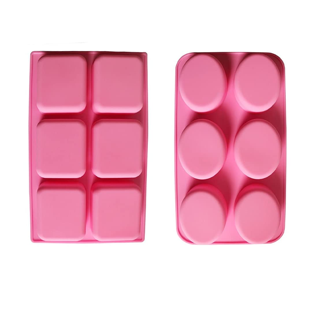 BAKER DEPOT 6 Holes Oval and Rectangular Silicone Mold for Handmade Soap Making, Set of 2