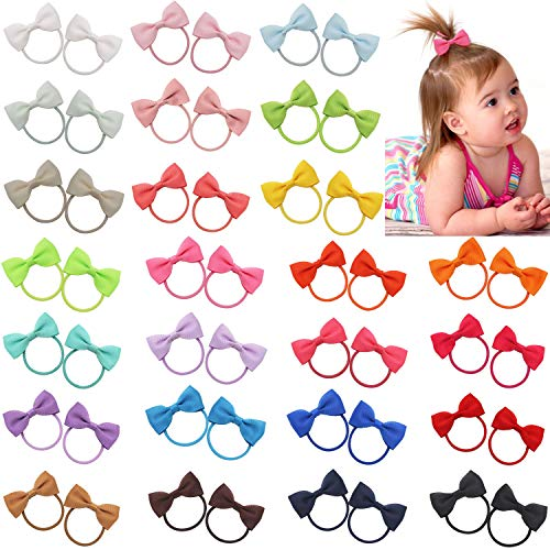 Qearl 50 Pieces 2 Inch Baby Girls Hair Bows Elastic Ties Grosgrain Ribbon Bow With Rubber Band Ponytail Holders Hair Accessories for Infants Toddlers Girls Kids In Pairs
