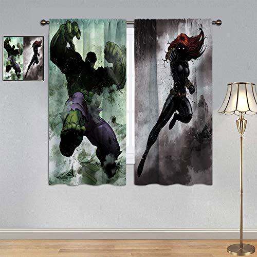 ARYAGO Cortinas opacas para niños, cortinas de Marvel Avengers, cortinas Hulk y Black Widow de eficiencia energética para habitación de niños, 132 x 153 cm