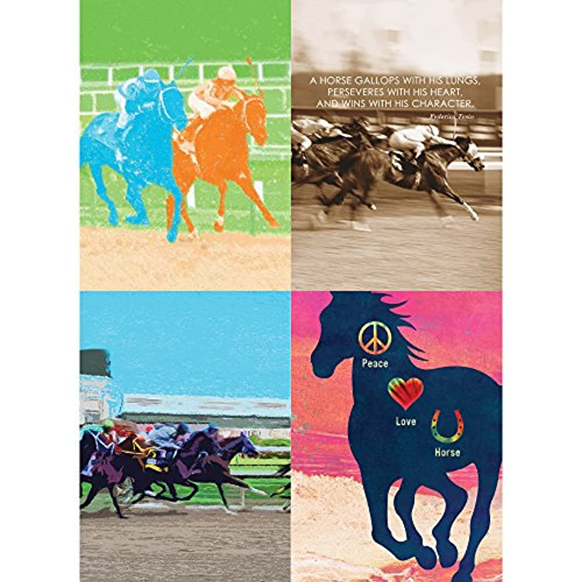 Tree-Free Greetings Horse Racing All Occasion Card Assortment, 5 x 7 Inches, 8 Cards and Envelopes per Set (GA31618)
