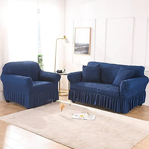 ASCV Asiento Funda de sofá elástica de Color sólido para Sala de Estar Fundas seccionales elásticas Impresas Funda de sofá en Forma de L A3 2 plazas