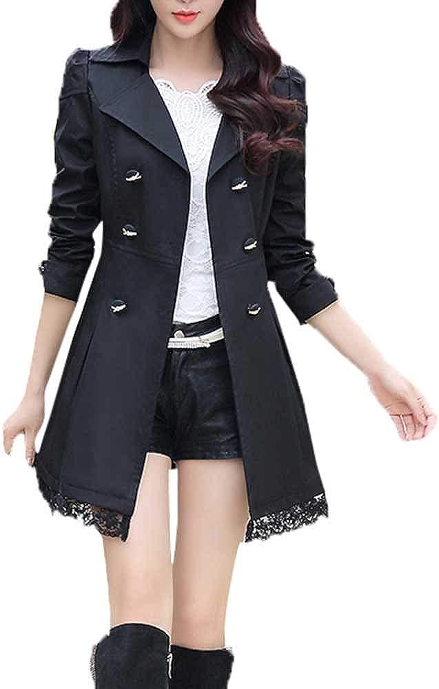 MOMKER Women's Juniors Trench Coat Long Jacket Overcoats Slim Outwear