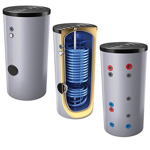 200L emaillierter Hochleistungs-Solar-, Warmwasserspeicher/Trinkwasserspeicher/Wärmepumpenspeicher EEK: B, mit 2 doppelt gewickelten Wärmetauschern inkl. Isolierung, Magnesiumanoden u. Thermometer