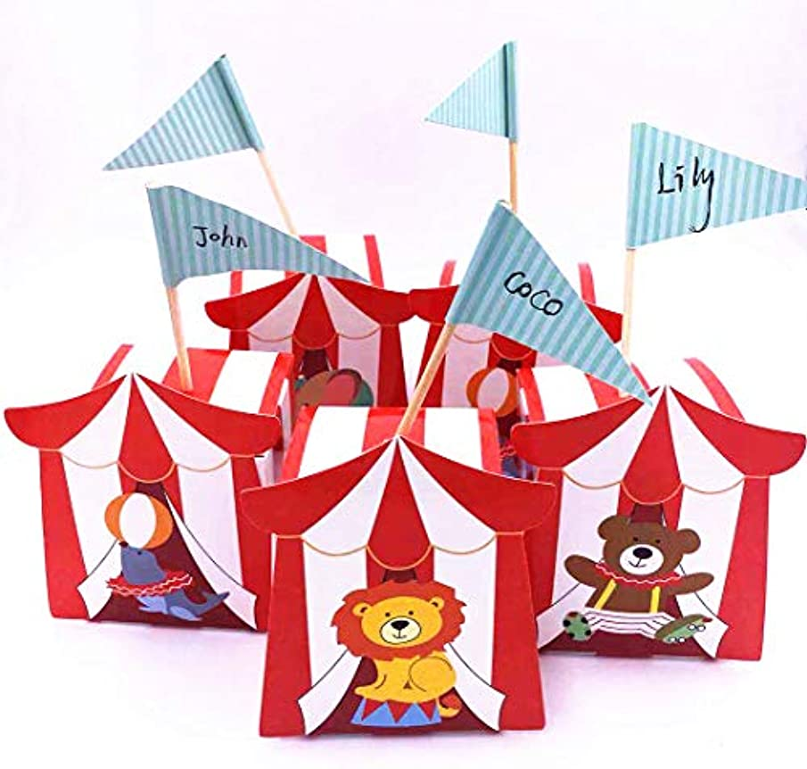 TECH-P Creative Life 50pcs Circus Animal Candy Boxes Gift Box with Flag for Wedding PartyTravel Themed Events-Mixed