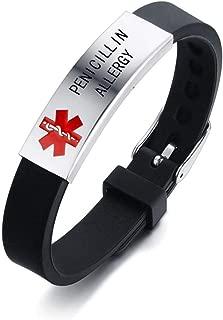 HEABY Medical Alert ID Bracelet Laser Engraved PENICILLIN Allergy Adjustable Wristband for Men Women Kid Emergency First Aid