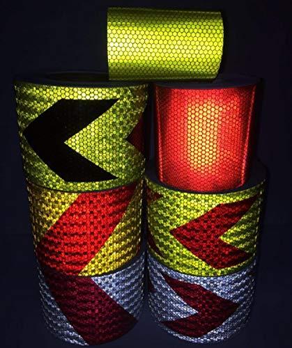 Huien 10cm * 1m pvc zelfklevende reflecterende veiligheidstape wegverkeer bouwplaats reflecterende waarschuwing pijl teken sticker, rood