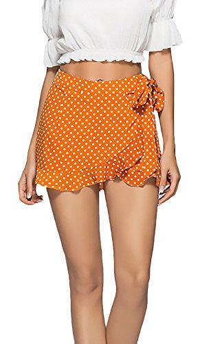 Pantalones Cortos Mujer Verano Elegantes Vintage Moda Lunares con Volantes Casual Playa Shorts Pantalon Corto Ropa Retro (Color : Amarillo, Size : M)
