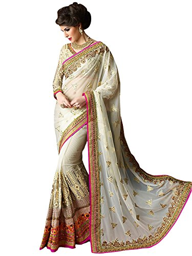 Mohit Creations WeddingWear Designer White Saree with Unstitched Blouse