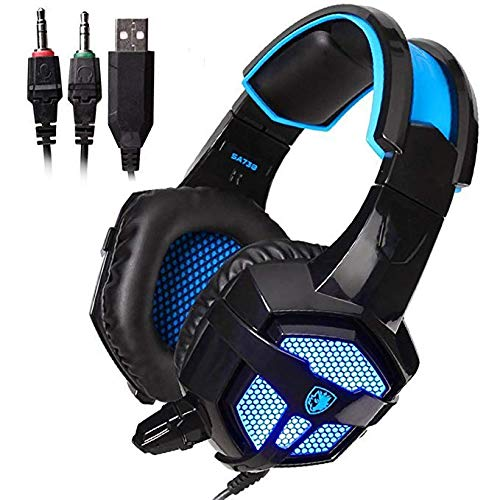 Sades SA738 PC Gaming Headset, Wired Over-Ear Stereo Computer Gaming Headphone with Microphone for Computers (Black and Blue)