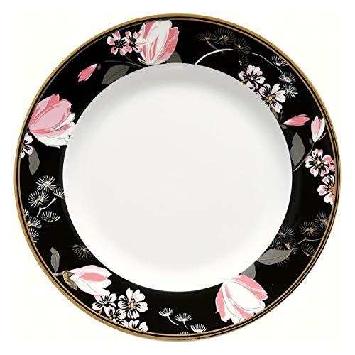 GreenGate Assiette Gate Noir - Assiette à petit-déjeuner - Assiette à dessert - Fleurs - Amelie noir - Diamètre : 20 cm