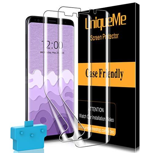 [2-pack] UniqueMe härdat glas skärmskydd för Samsung Galaxy S9, [bubbelfri] [Touch sensitive] 9H hårdhet reptålig HD klar film för Samsung Galaxy S9 med enkel installationsram
