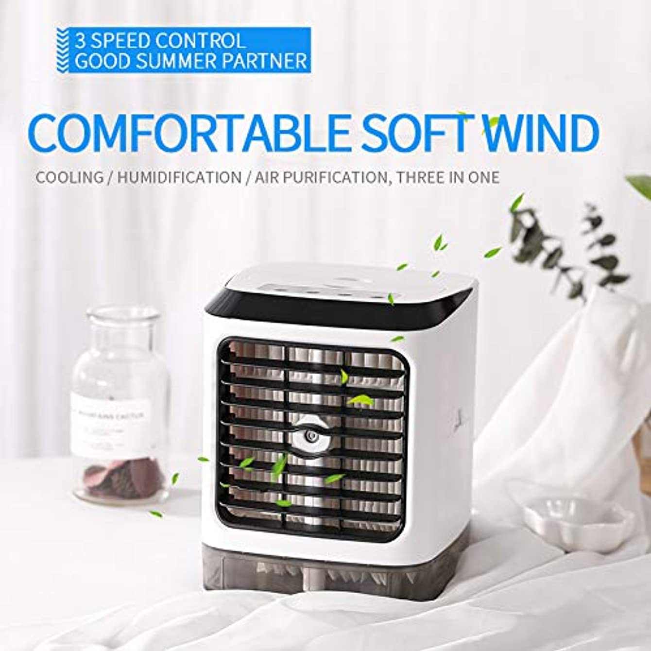 Space Cooler, STLOVE Personal Air Cooler Air Purifier Humidifier 3 in 1, 3 Speeds Desktop Space Air Conditioner with Handle for Office, Bedroom and Livingroom
