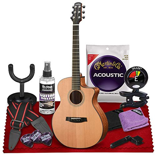 Walden G2070RCE SupraNatura All-Solid Rosewood Armrest Cutaway-Electric Guitar (Satin Natural) with Gig Bag, Strap, Strings, Tuner, and More Perfect for Musicians