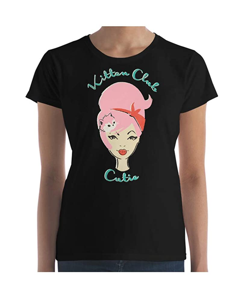 KITTY PINK HAIR Pinup Girl cat lover T-shirt in Black Feminine Cut. Kitten Club Cutie