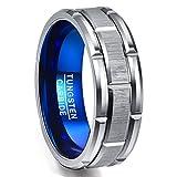 [Nuncad(ヌンカド)] 指輪 メンズ リング タングステン 平打ち 金属アレルギーフリー 大きいサイズ レアメタル 幅:8mm 19号