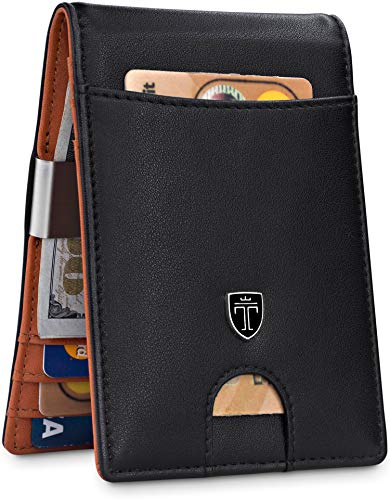 TRAVANDO Money Clip Wallet'RIO' - Mens Wallets slim Front Pocket RFID Blocking Card Holder Minimalist Mini Bifold Gift Box