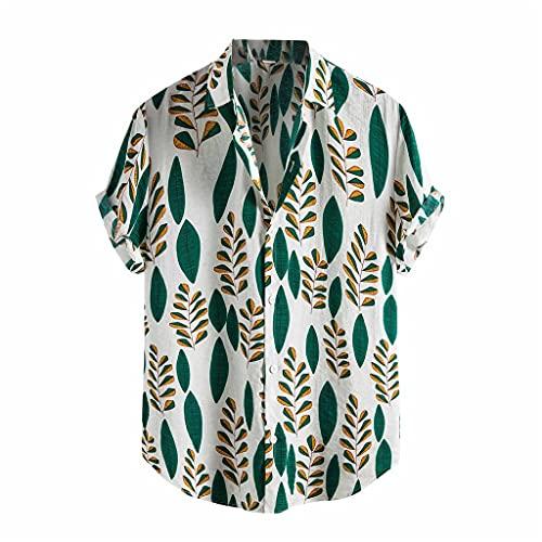 LSDJGDDE Camisa hawaiana de verano para hombre, con estampado de hojas sueltas para playa, informal, cuello de vuelta, para hombre (color: verde, tamaño: código L)