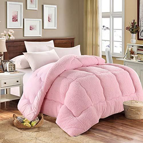 Manta de cachemira gruesa de cordero para invierno, manta de cordero de cachemira, mantas pesadas para cama doble de invierno, manta de forro polar para el hogar, dormitorio, Rosa, 180cmx220cm