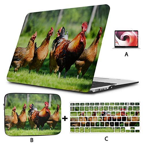 Macbook 15 Cover Chickens On Traditional Free Range Poultry Air Case Hard Shell Mac Air 11'/13' Pro 13'/15'/16' With Notebook Sleeve Bag For Macbook 2008-2020 Version