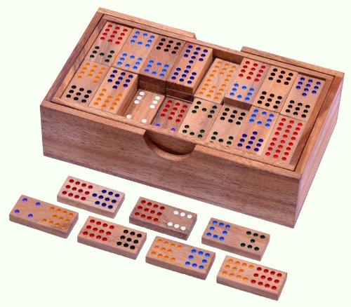 Domino Doppel 12 - Legespiel - Gesellschaftsspiel aus Holz mit 91 Spielsteinen