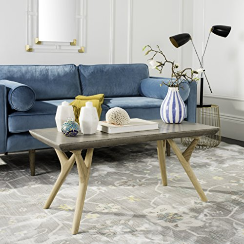 Safavieh VNN1018A Collection Pacey Dark Grey Indoor/Outdoor Modern Concrete 16.54' Coffee Table