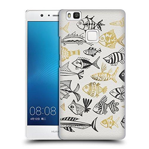 Head Case Designs Oficial Cat Coquillette Pescado Inkings Oro Negro Mar 2 Carcasa rígida Compatible con Huawei P9 Lite / G9 Lite