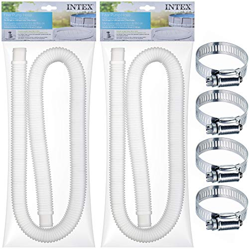 "SEWANTA Replacement Hose for Above Ground Pools [Set of 2] 1.25' Diameter Accessory Pool Pump Replacement Hose 59"" Long - Filter Pump Hose for Intex Pump Models #607#637. Bundled with 4 Metal Clamps"