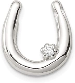 Solid 925 Sterling Silver CZ Cubic Zirconia Horseshoe Pendant (14mm x 15mm)