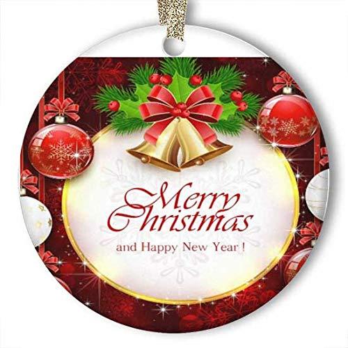 EaYanery Bolas de Navidad rojas brillantes bolas doradas, adorno de abeto de bayas (redondo) de cerámica personalizada, ideales para Navidad 2019
